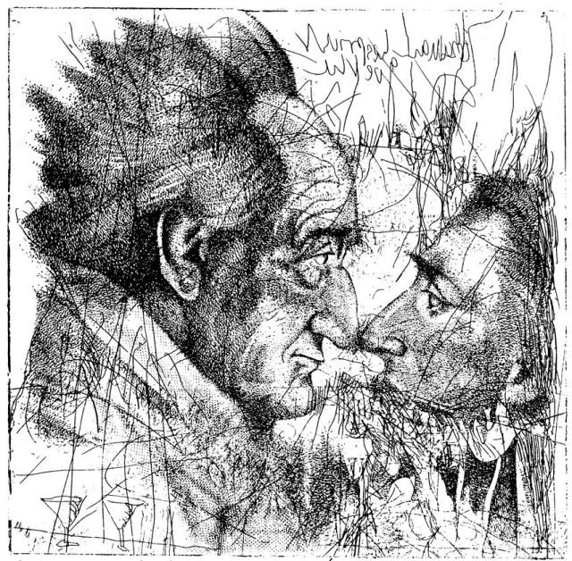 © Dieter Motzel: Goethe bespricht Eckermann, Radierung, f. Wissenschaftliche Buchgesellschaft, https://www.haushundhirsch.com/