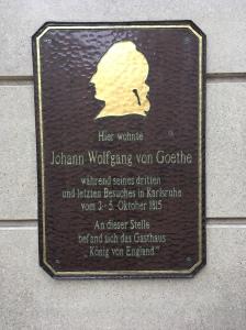 Goethe was here: Erinnerungstafel, Karstadt Sport, Karlsruhe